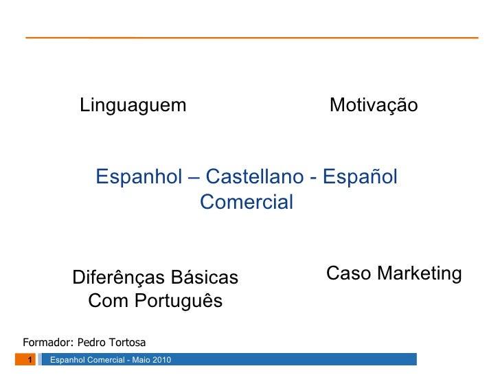 Espanhol – Castellano - Español Comercial Linguaguem Motivação Diferênças Básicas Com Português Caso Marketing Formador: P...