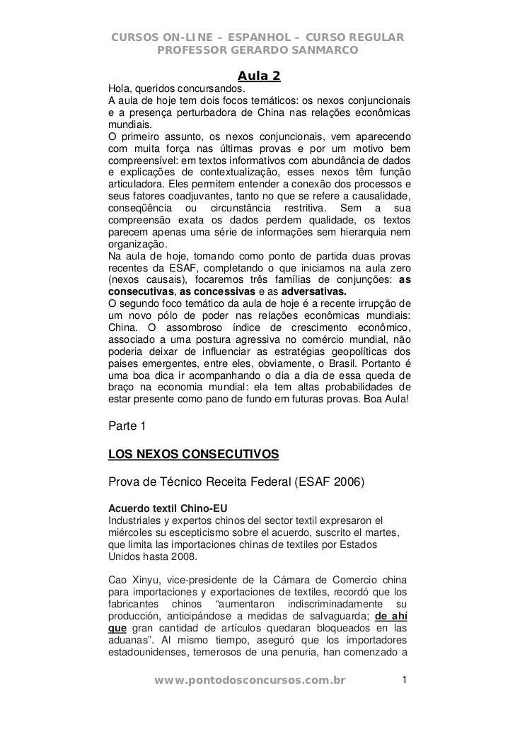 CURSOS ON-LINE – ESPANHOL – CURSO REGULAR      PROFESSOR GERARDO SANMARCO                            Aula 2Hola, queridos ...