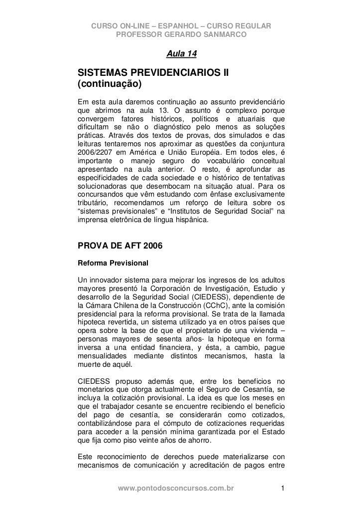 CURSO ON-LINE – ESPANHOL – CURSO REGULAR         PROFESSOR GERARDO SANMARCO                           Aula 14SISTEMAS PREV...