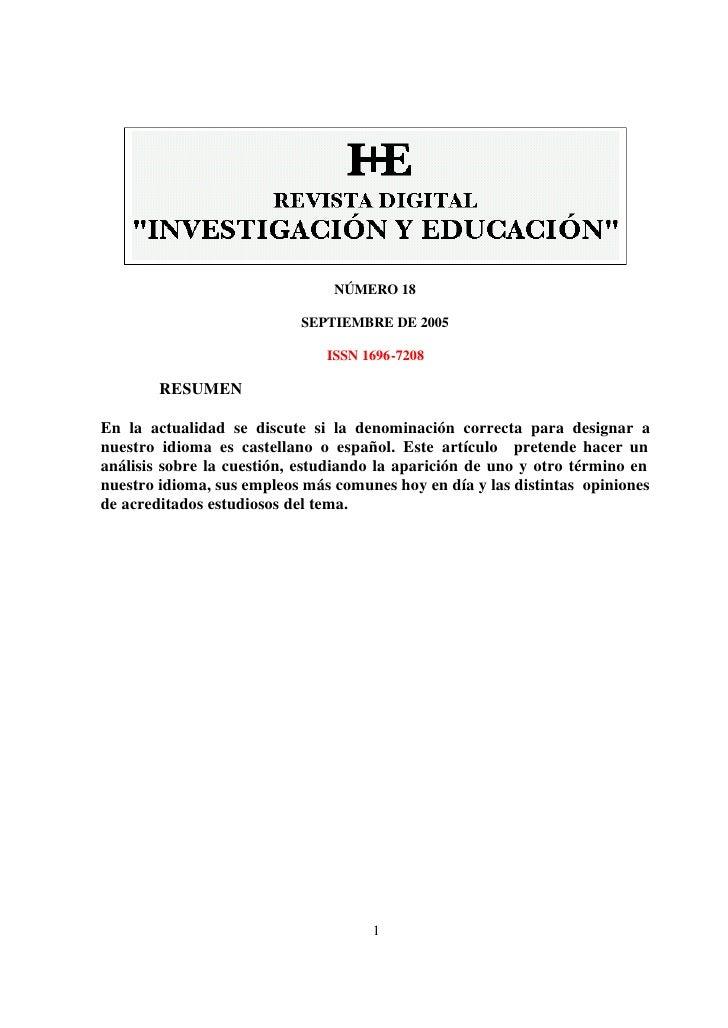 NÚMERO 18                             SEPTIEMBRE DE 2005                                 ISSN 1696-7208          RESUMEN  ...