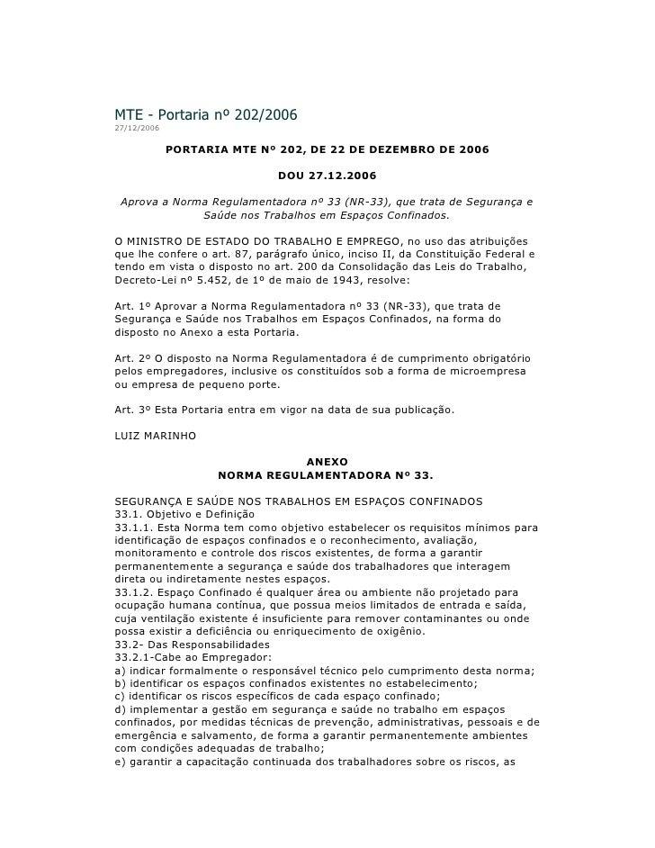 Portaria nº 202/2006: NR-33