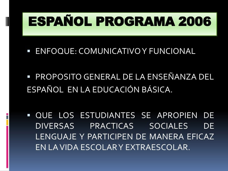 ESPAÑOL PROGRAMA 2006<br />ENFOQUE: COMUNICATIVO Y FUNCIONAL<br />PROPOSITO GENERAL DE LA ENSEÑANZA DEL <br />ESPAÑOL  EN ...
