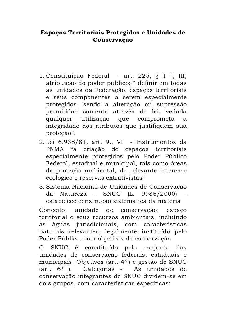 Espaços Territoriais Protegidos e Unidades de Conservação<br />Constituição Federal  - art. 225, § 1 °, III, atribuição do...