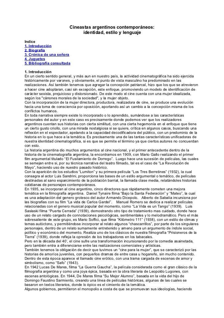 Cineastas argentinos contemporáneos:                                 identidad, estilo y lenguajeIndice1. Introducción2. B...