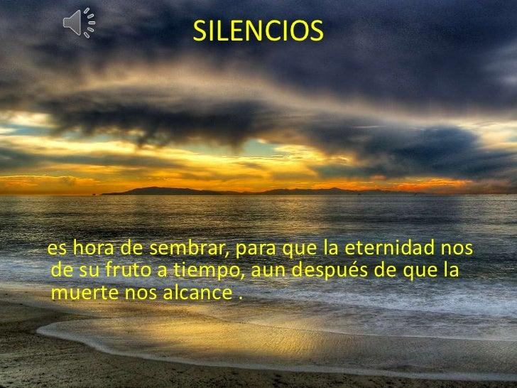 SILENCIOS<br />   es hora de sembrar, para que la eternidad nos de su fruto a tiempo, aun después de que la muerte nos alc...