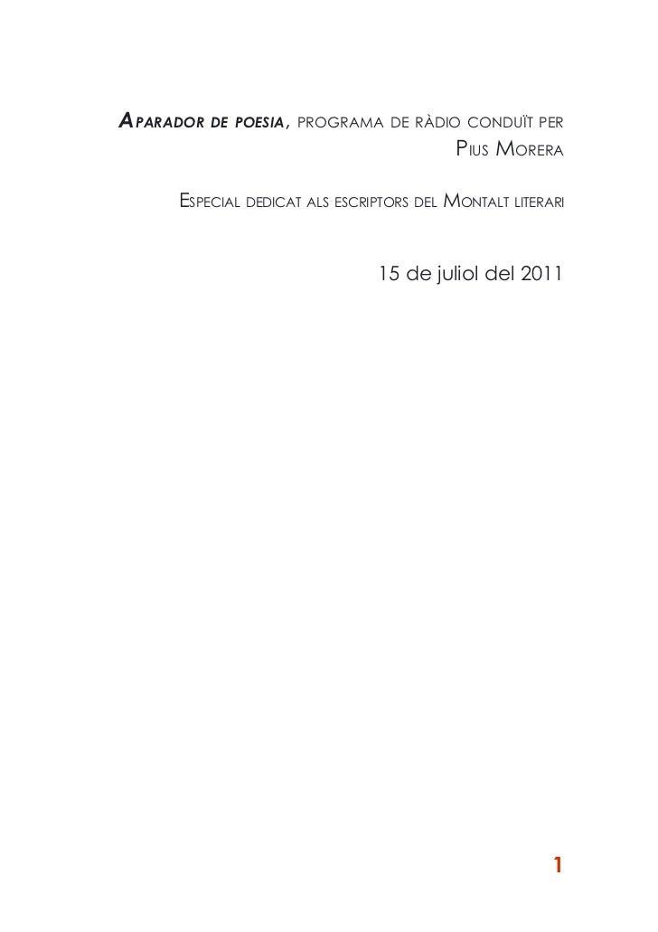 APARADOR DE POESIA, PROGRAMA DE RÀDIO CONDUÏT PER                                     PIUS MORERA      ESPECIAL DEDICAT AL...