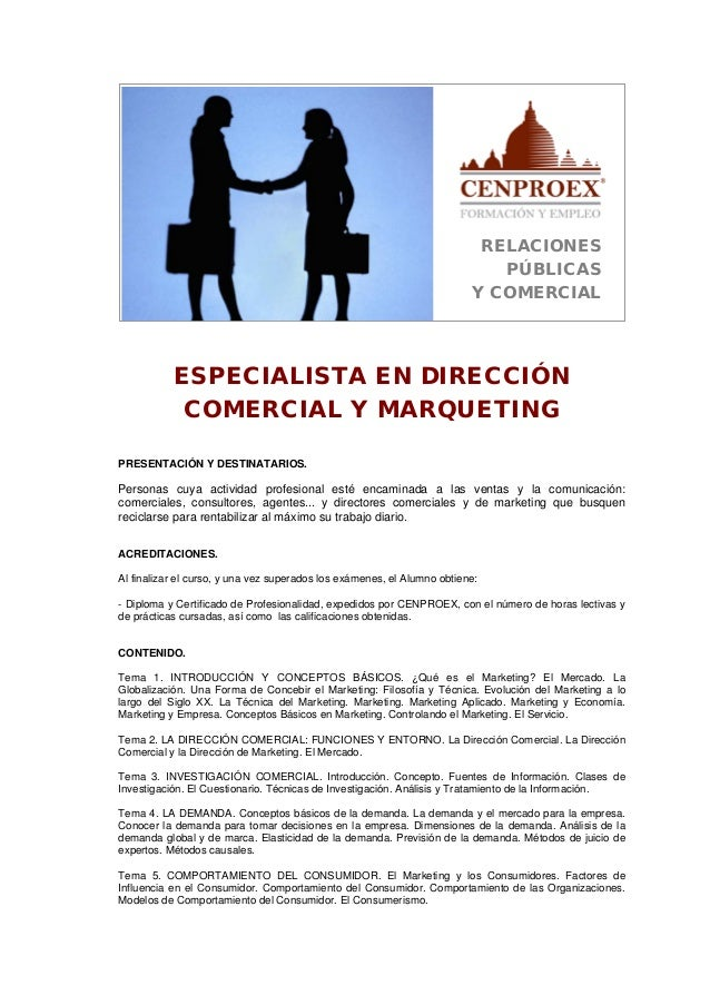 Especialista en dirección comercial y marketing