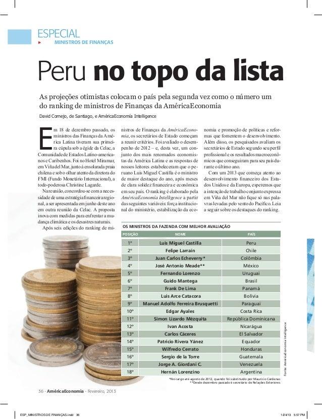 ESPECIAL                   MINISTROS DE FINANÇAS         Peru no topo da lista             As projeções otimistas colocam...