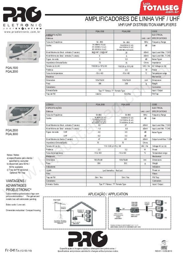 Especificação Técnica da Amplificador de Linha VHF-UHF 15dB Bivolt  PQAL-1500 Proeletronic - LojaTotalseg.com.br