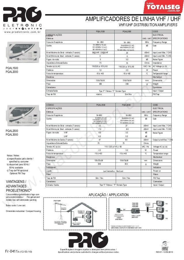 REV01 -12/03/2010AMPLIFICADORES DE LINHA VHF / UHFVHF/UHF DISTRIBUTION AMPLIFIERSPQAL2500 PQAL300054-89022 27-1,0 8,04,0 3...