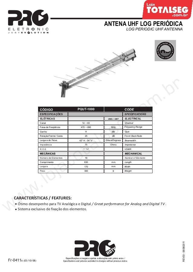 Especificação Técnica da Antena UHF Log banda total  PQUT-1000 Proeletronic - LojaTotalseg.com.br