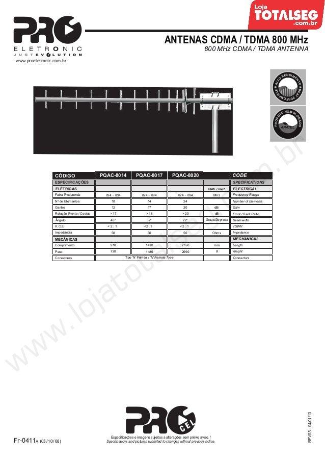 ANTENAS CDMA / TDMA 800 MHz800 MHz CDMA / TDMA ANTENNAREV03-04/01/13Fr-0411A (03/10/08)Especificações e imagens sujeitas a...