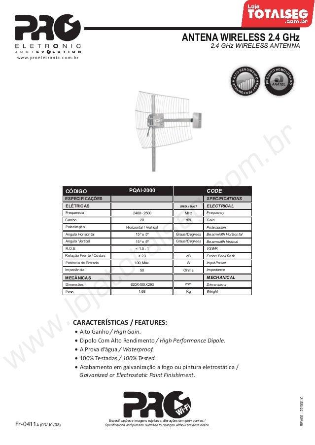 ANTENA WIRELESS 2.4 GHz2.4 GHz WIRELESS ANTENNAREV00-22/03/10Fr-0411A (03/10/08)Especificações e imagens sujeitas a altera...