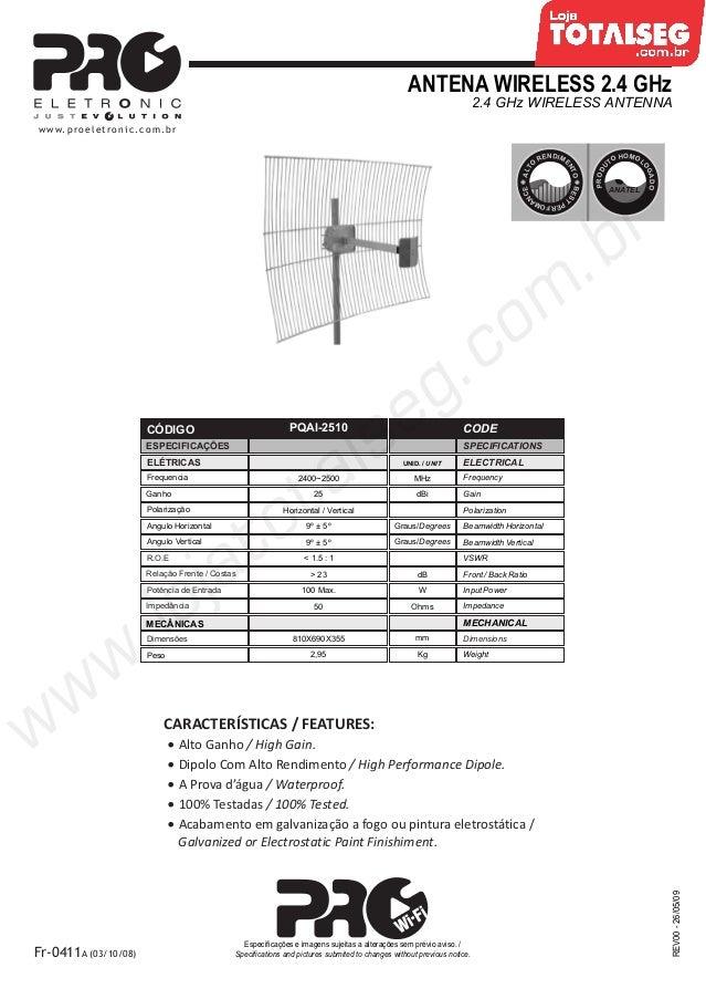 ANTENA WIRELESS 2.4 GHz2.4 GHz WIRELESS ANTENNAREV00-26/05/09Fr-0411A (03/10/08)Especificações e imagens sujeitas a altera...