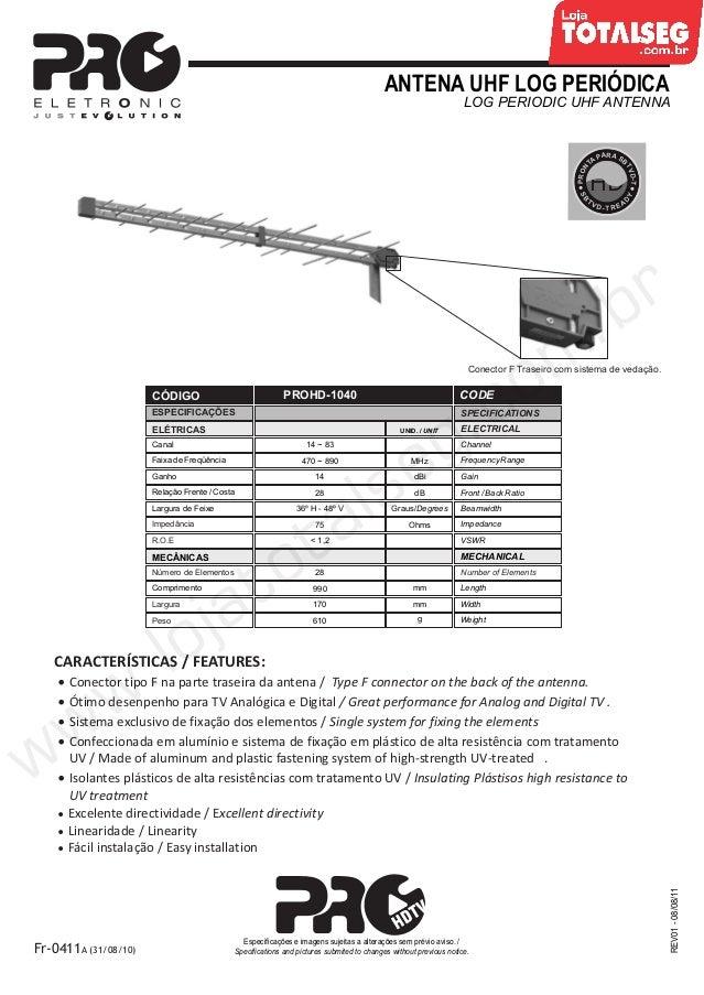Especificação Técnica da Antena UHF Log banda IV e V TV digital  PROHD-1040 Proeletronic - LojaTotalseg.com.br