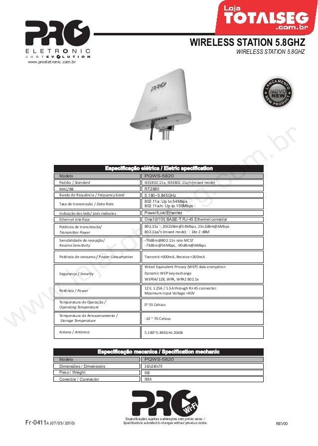 Especificação Técnica do CPE-Wireless Station 5.8 GHz com Antena Acoplada de 20 dBi PQWS-5820 Proeletronic - LojaTotalseg.com.br