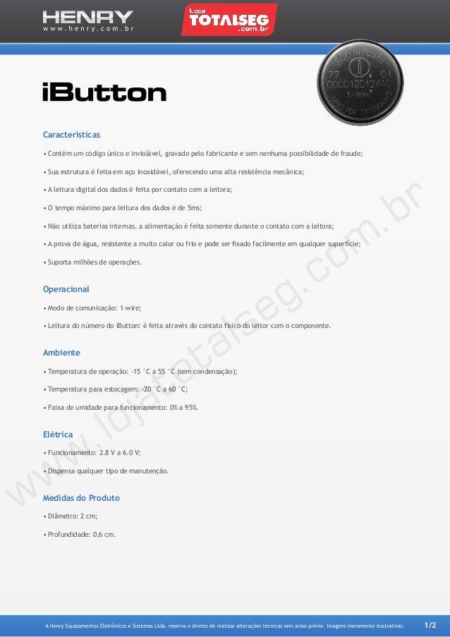 Especificação Técnica do Sensor IButton - LojaTotalseg.com.br