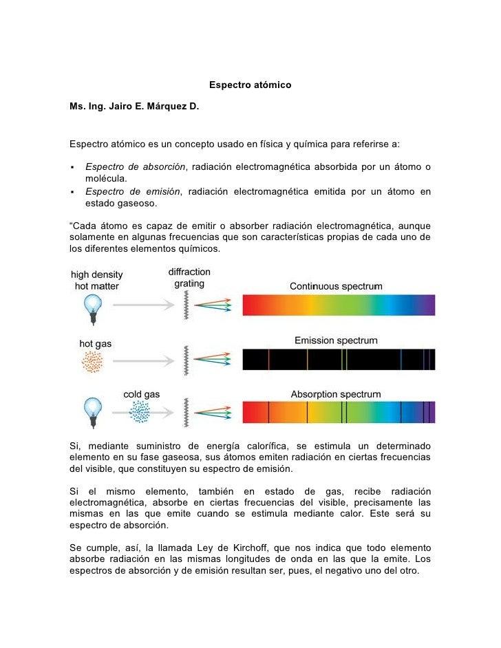 Espectro atómicoMs. Ing. Jairo E. Márquez D.Espectro atómico es un concepto usado en física y química para referirse a:  ...