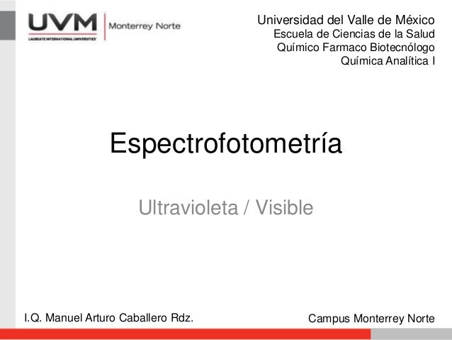 Espectrofotometría Ultravioleta / Visible I.Q. Manuel Arturo Caballero Rdz. Campus Monterrey Norte Universidad del Valle d...
