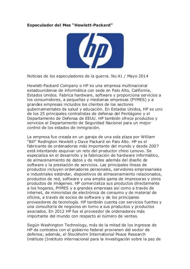 """Especulador del Mes """"Hewlett-Packard"""" Noticias de los especuladores de la guerra. No.41 / Mayo 2014 Hewlett-Packard Compan..."""