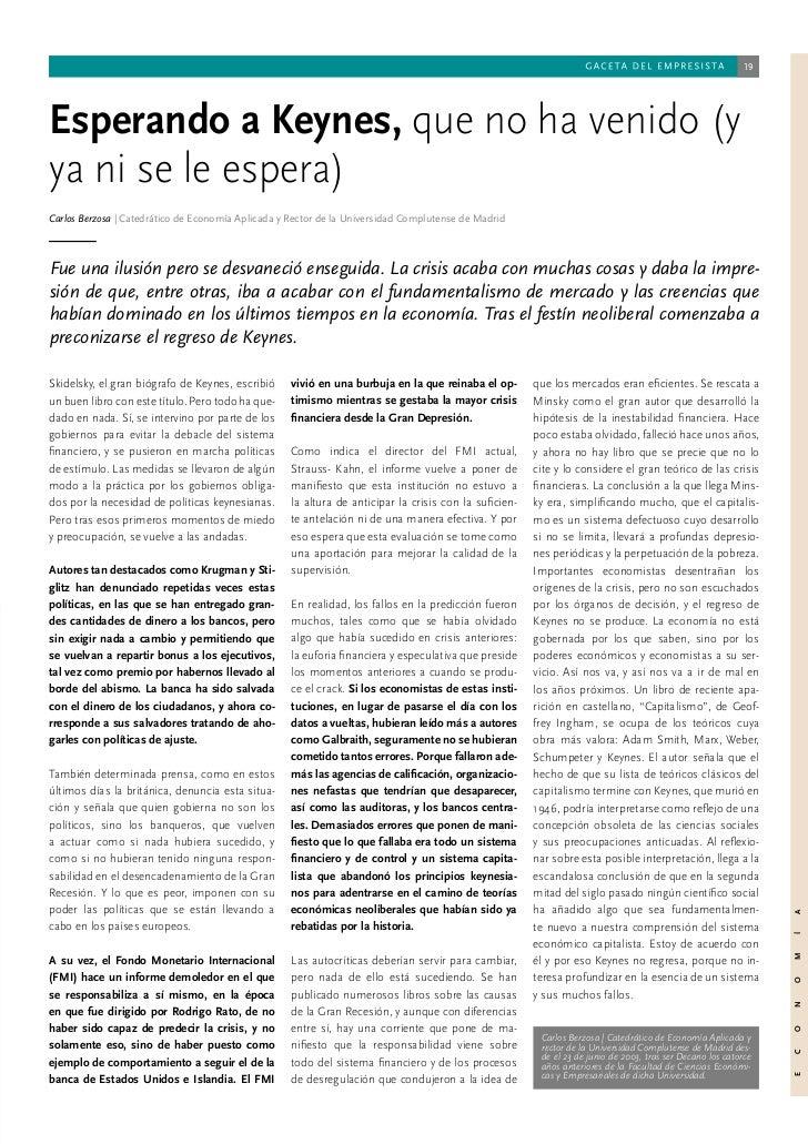 19Esperando a Keynes, que no ha venido (yya ni se le espera)Carlos Berzosa | Catedrático de Economía Aplicada y Rector de ...