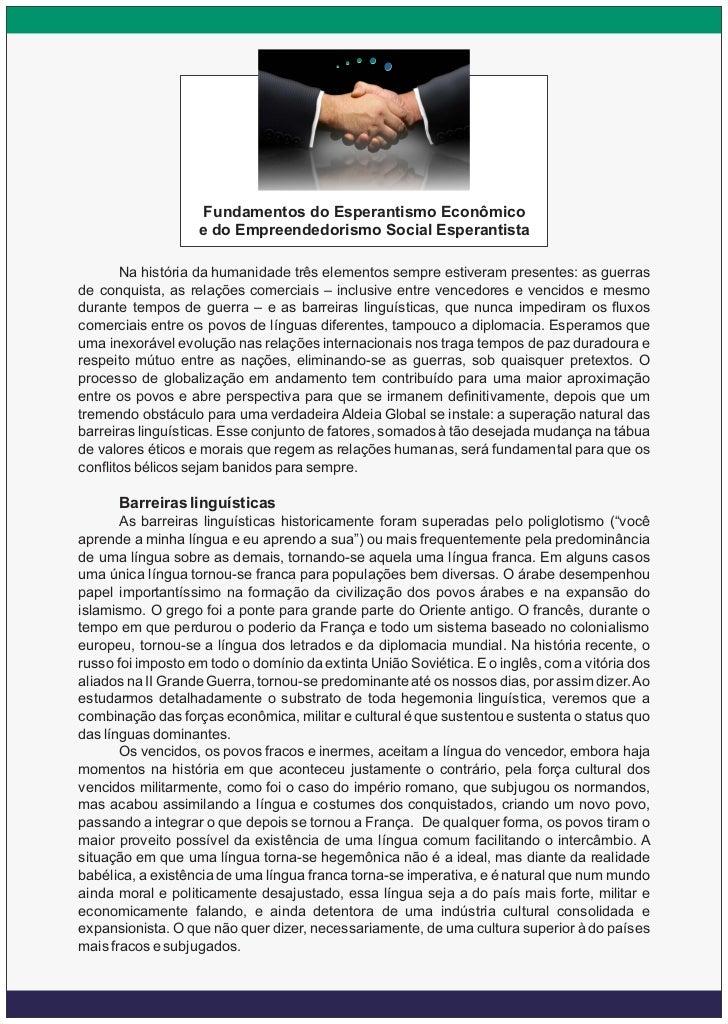 Fundamentos do Esperantismo Econômico                   e do Empreendedorismo Social Esperantista       Na história da hum...