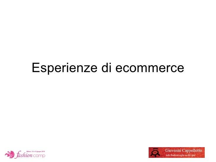 Esperienze di ecommerce