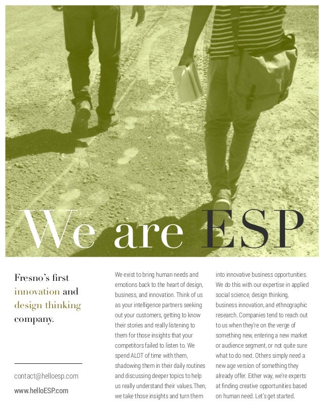 ESP -  Research and Innovation company, helping transform customer experiences.