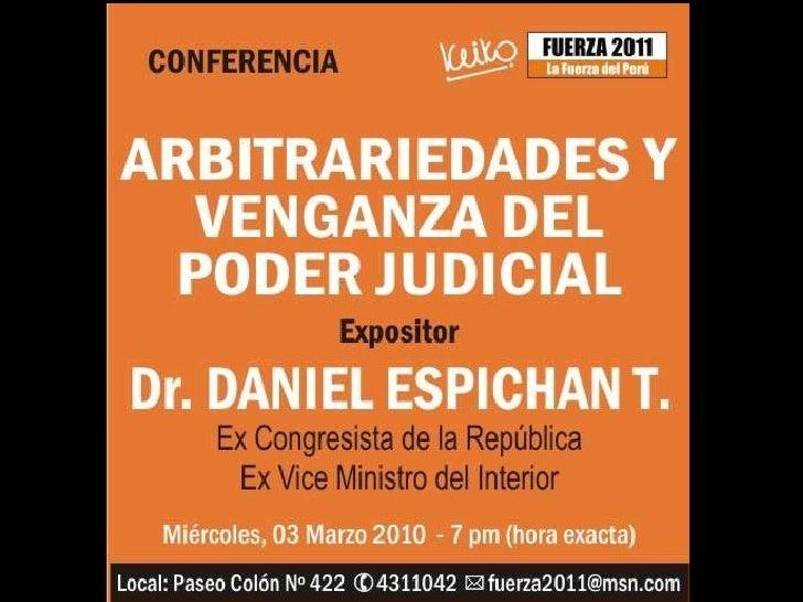 Arbitrariedades y Venganza del Poder Judicial