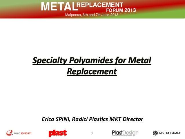 REPLACEMENT FORUM 2013METALMalpensa, 6th and 7th June 2013 1 Erico SPINI, Radici Plastics MKT Director