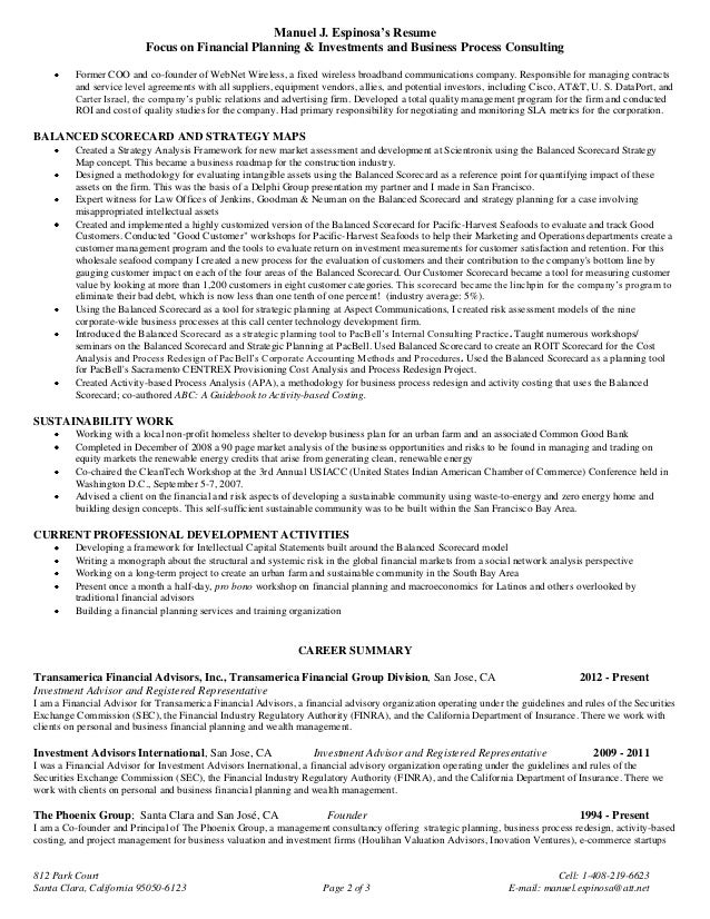 Sample financial planning resume