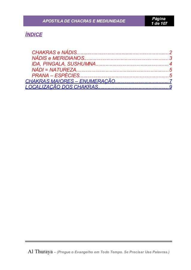 APOSTILA DE CHACRAS E MEDIUNIDADE Página 1 de 107 ÍNDICE CHAKRAS e NÁDIS.....................................................