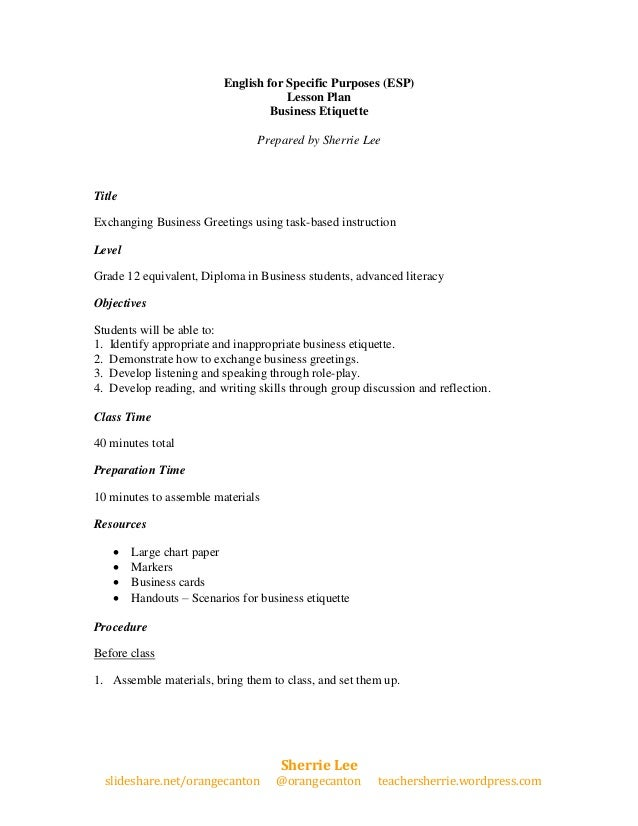 English for Specific Purposes (ESP)                                      Lesson Plan                                   Bus...