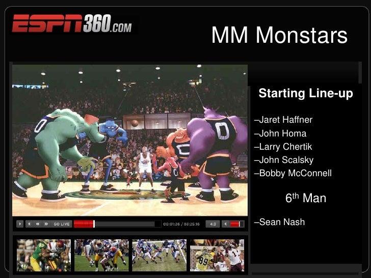 MM Monstars<br />Starting Line-up<br />Jaret Haffner<br />John Homa<br />Larry Chertik<br />John Scalsky<br />Bobby McC...