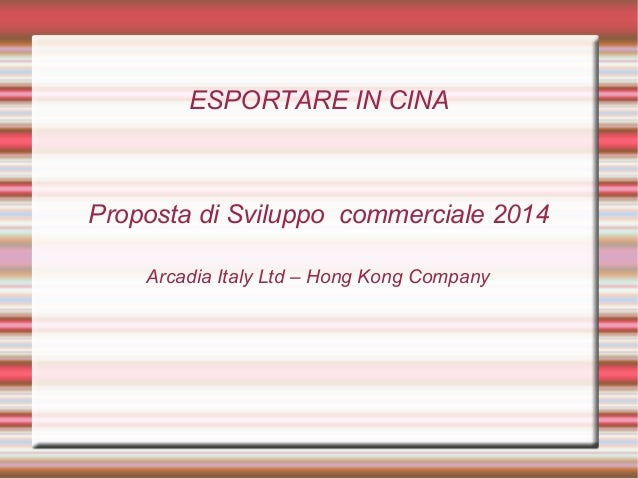 Esportare in cina Food and Wine