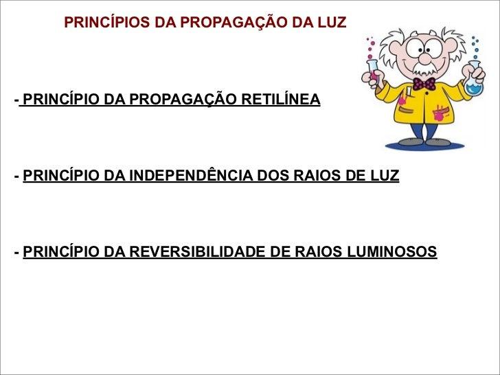 PRINCÍPIOS DA PROPAGAÇÃO DA LUZ- PRINCÍPIO DA PROPAGAÇÃO RETILÍNEA- PRINCÍPIO DA INDEPENDÊNCIA DOS RAIOS DE LUZ- PRINCÍPIO...
