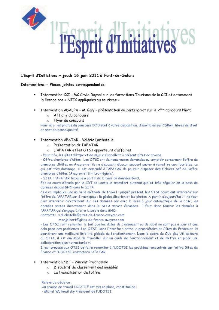 L'Esprit d'Initiatives » jeudi 16 juin 2011 à Pont-de-SalarsInterventions - Pièces jointes correspondantes          Interv...