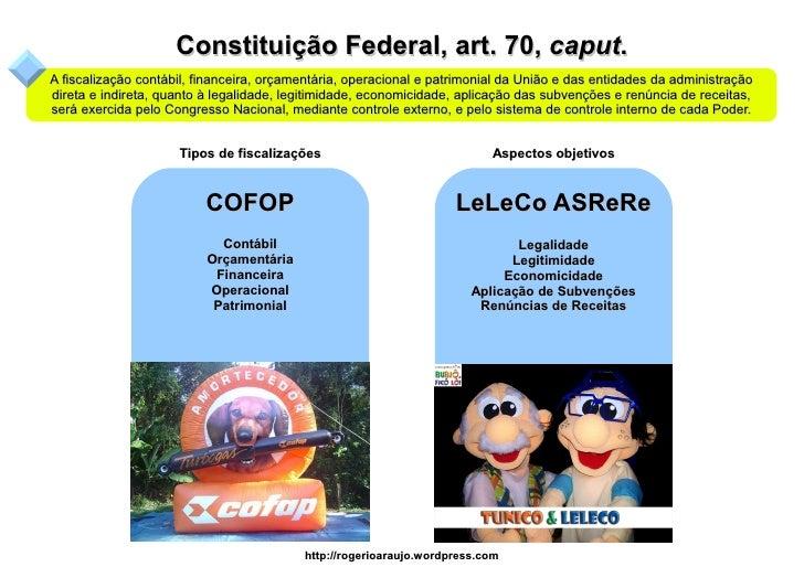 Constituição Federal, art. 70, caput. A fiscalização contábil, financeira, orçamentária, operacional e patrimonial da Uniã...