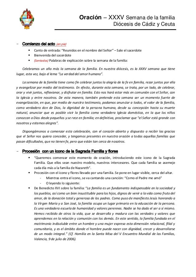 """Oración – XXXV Semana de la familia Diócesis de Cádiz y Ceuta  - Comienzo del acto (en pie)     Canto de entrada: """"Reun..."""