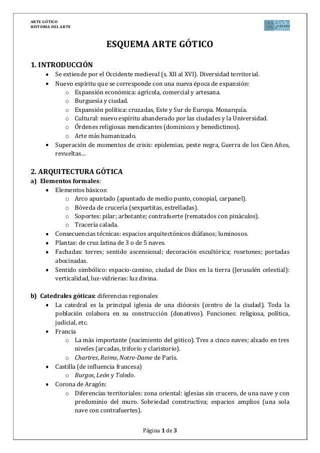 ARTE GÓTICOHISTORIA DEL ARTEPágina 1 de 3ESQUEMA ARTE GÓTICO1. INTRODUCCIÓNSe extiende por el Occidente medieval (s. XII a...