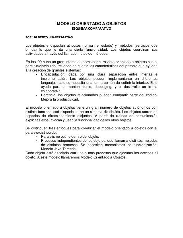 MODELO ORIENTADO A OBJETOS                             ESQUEMA COMPARATIVOPOR:   ALBERTO JUÁREZ MATÍASLos objetos encapsul...