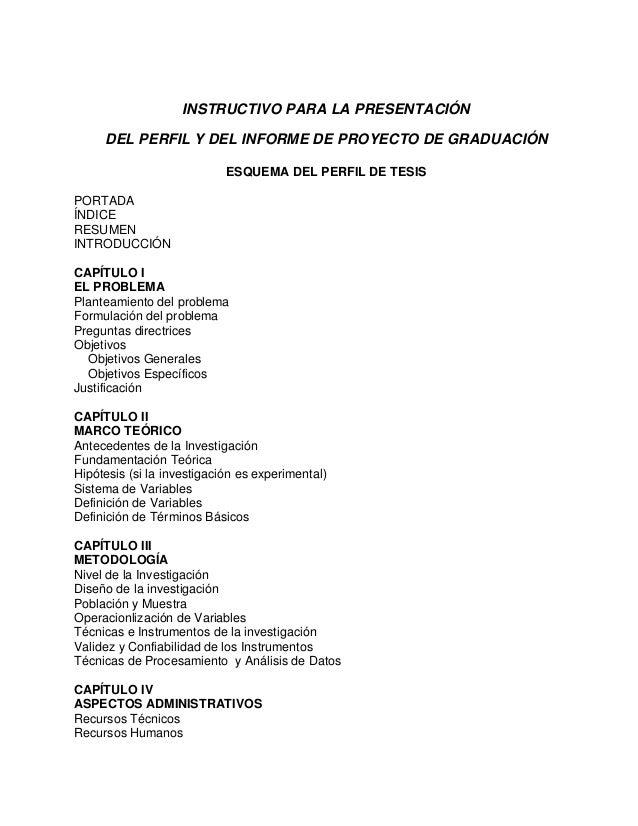 INSTRUCTIVO PARA LA PRESENTACIÓN DEL PERFIL Y DEL INFORME DE PROYECTO DE GRADUACIÓN ESQUEMA DEL PERFIL DE TESIS PORTADA ÍN...