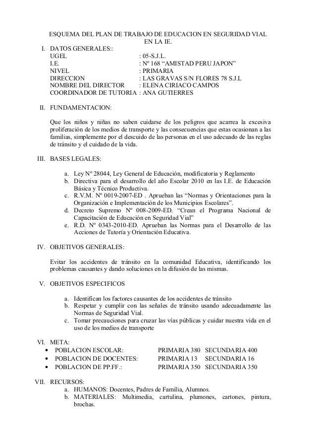 """ESQUEMA DEL PLAN DE TRABAJO DE EDUCACION EN SEGURIDAD VIAL EN LA IE. I. DATOS GENERALES:: UGEL : 05-S.J.L. I.E. : Nº 168 """"..."""