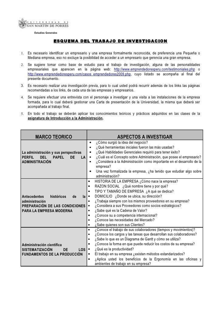 Estudios Generales                        ESQUEMA DEL TRABAJO DE INVESTIGACION1.   Es necesario identificar un empresario ...