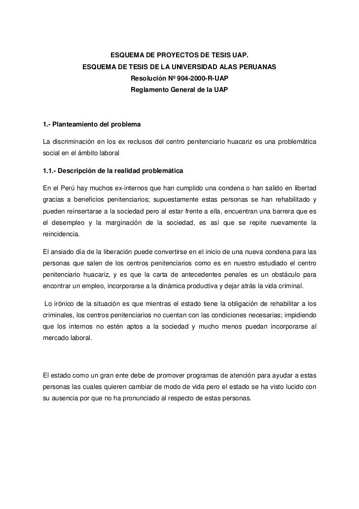 ESQUEMA DE PROYECTOS DE TESIS UAP.<br />ESQUEMA DE TESIS DE LA UNIVERSIDAD ALAS PERUANAS<br />Resolución Nº 904-2000-R-UAP...