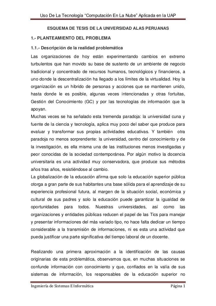 ESQUEMA DE TESIS DE LA UNIVERSIDAD ALAS PERUANAS<br />1.- PLANTEAMIENTO DEL PROBLEMA1.1.- Descripción de la realidad probl...