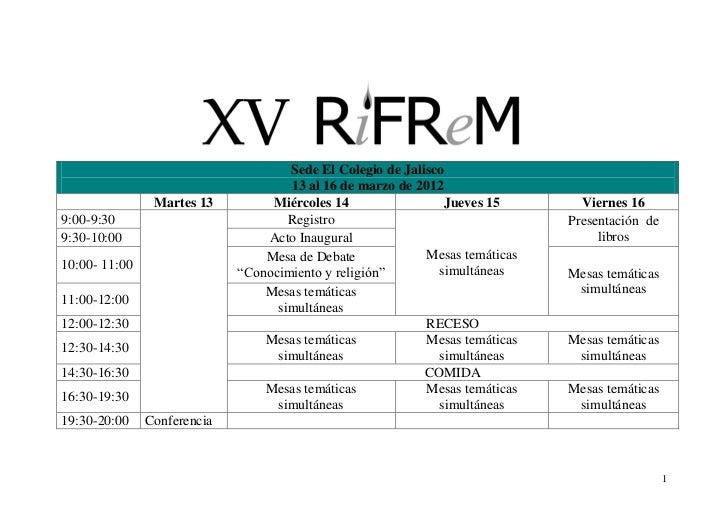 Esquema general del programa XV encuentro de la RIFREM, México, 2012