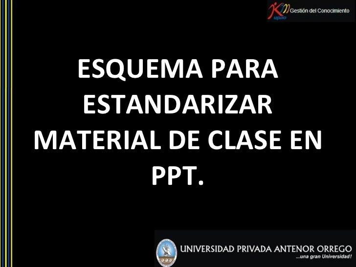 ESQUEMA PARA ESTANDARIZAR MATERIAL DE CLASE EN PPT.
