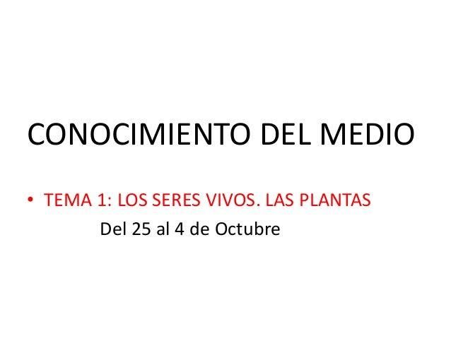 CONOCIMIENTO DEL MEDIO • TEMA 1: LOS SERES VIVOS. LAS PLANTAS Del 25 al 4 de Octubre