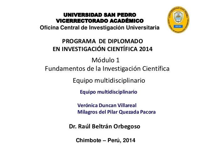 PROGRAMA DE DIPLOMADO EN INVESTIGACIÓN CIENTÍFICA 2014 Dr. Raúl Beltrán Orbegoso UNIVERSIDAD SAN PEDRO VICERRECTORADO ACAD...